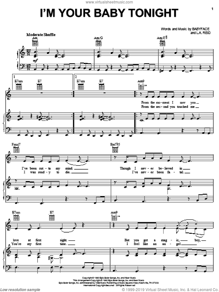 I'm Your Baby Tonight sheet music for voice, piano or guitar by Whitney Houston, Babyface and L.A. Reid, intermediate skill level