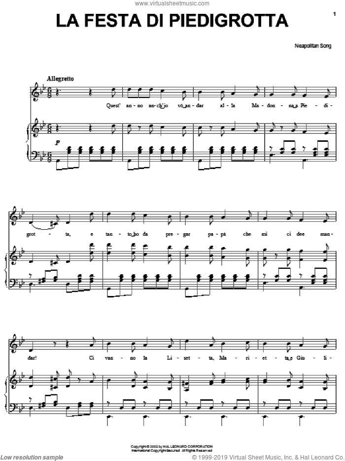 La festa di Piedigrotta sheet music for voice, piano or guitar, classical score, intermediate skill level