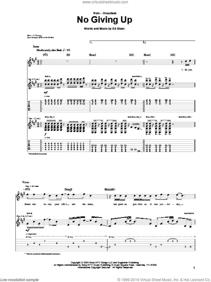 No Giving Up sheet music for guitar (tablature) by Crossfade and Ed Sloan, intermediate skill level