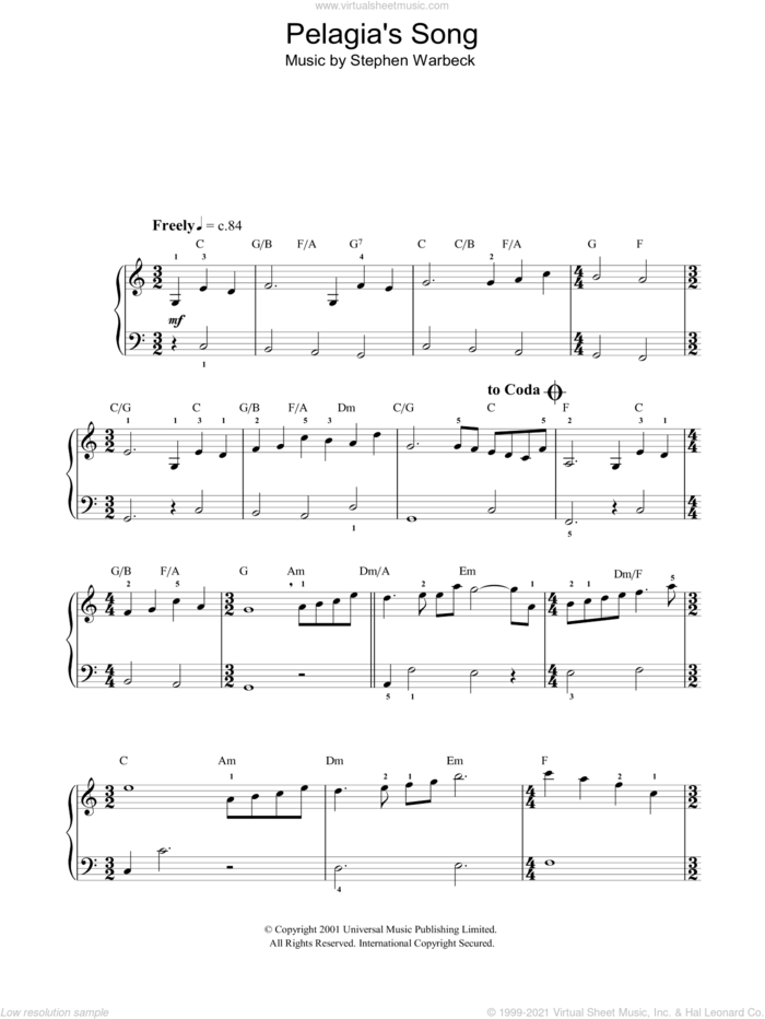 Pelagia's Song (Ricordo Ancor) (from Captain Corelli's Mandolin) sheet music for piano solo by Stephen Warbeck, easy skill level