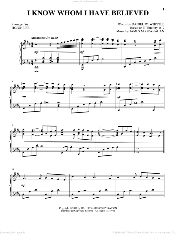 I Know Whom I Have Believed sheet music for piano solo by James McGranahan, Daniel W. Whittle and II Timothy 1:12, intermediate skill level