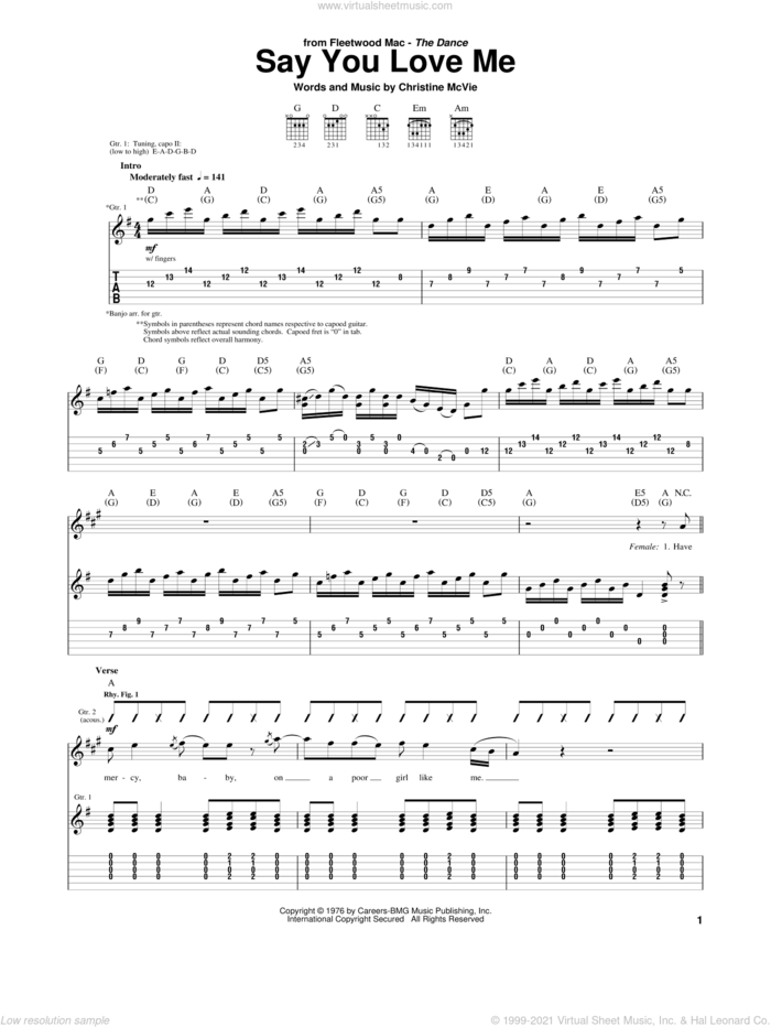 Say You Love Me sheet music for guitar (tablature) by Fleetwood Mac and Christine McVie, intermediate skill level