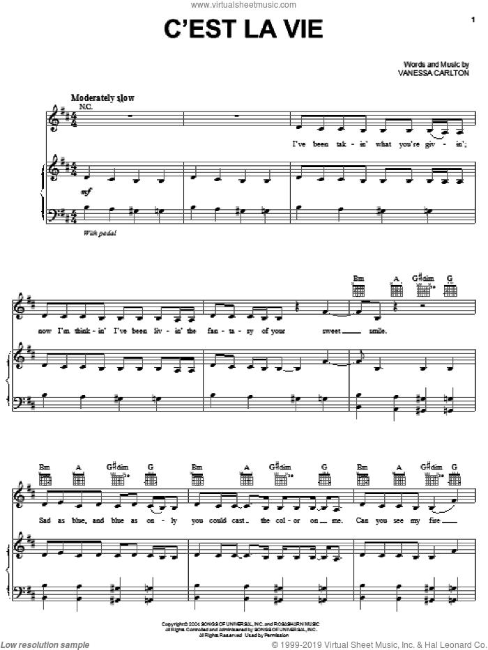 C'est La Vie sheet music for voice, piano or guitar by Vanessa Carlton, intermediate skill level