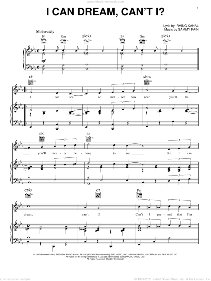 I Can Dream, Can't I? (from Right This Way) sheet music for voice, piano or guitar by Andrews Sisters, Bing Crosby, The Andrews Sisters, Irving Kahal and Sammy Fain, intermediate skill level