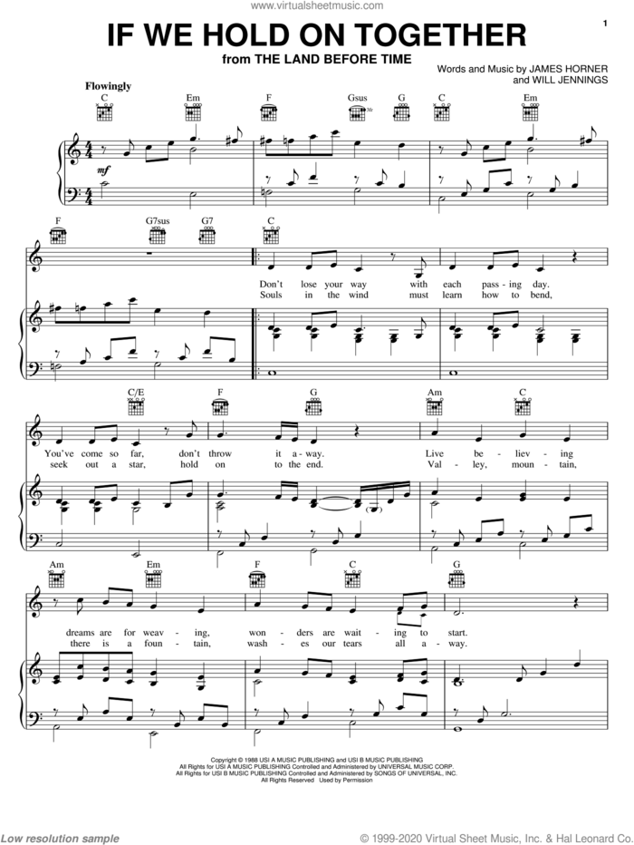 If We Hold On Together sheet music for voice, piano or guitar by Diana Ross, James Horner and Will Jennings, intermediate skill level