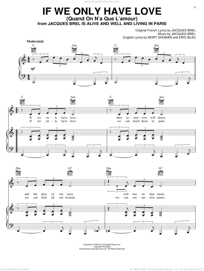 If We Only Have Love (Quand On N'a Que L'amour) sheet music for voice, piano or guitar by Jacques Brel, Barry Manilow, Eric Blau and Mort Shuman, intermediate skill level