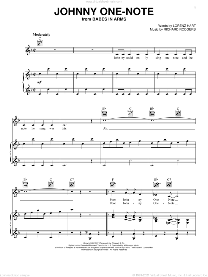 Johnny One Note sheet music for voice, piano or guitar by Judy Garland, Babes In Arms (Musical), Rodgers & Hart, Lorenz Hart and Richard Rodgers, intermediate skill level