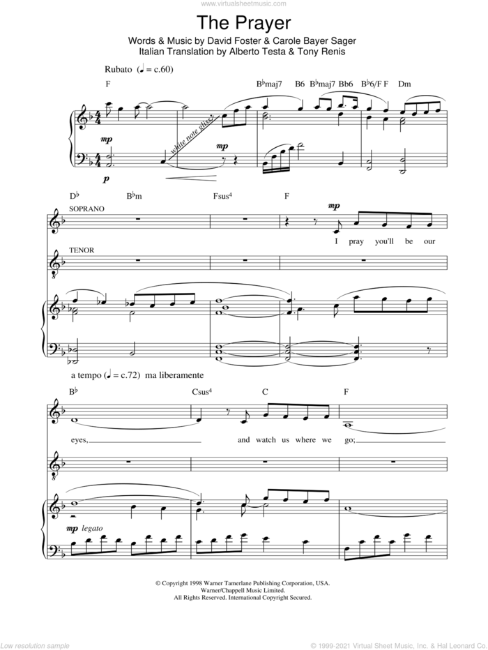 The Prayer sheet music for voice, piano or guitar by Russell Watson, Andrea Bocelli, Russell Watson & Lulu, Carole Bayer Sager and David Foster, intermediate skill level