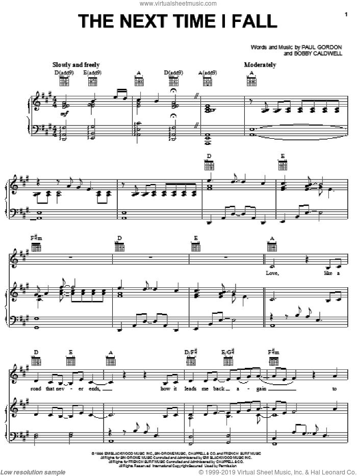 The Next Time I Fall sheet music for voice, piano or guitar by Peter Cetera with Amy Grant, Amy Grant, Peter Cetera, Bobby Caldwell and Paul Gordon, intermediate skill level