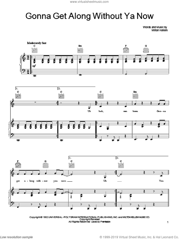 Gonna Get Along Without Ya Now sheet music for voice, piano or guitar by She & Him, Skeeter Davis and Milton Kellem, intermediate skill level