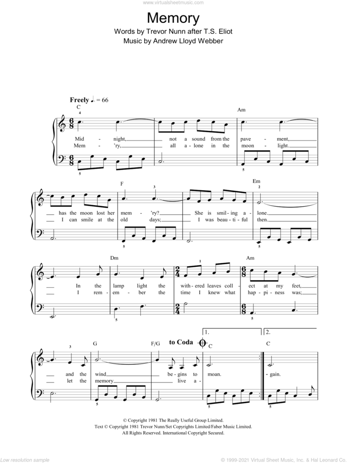 Memory (from Cats), (easy) (from Cats) sheet music for piano solo by Andrew Lloyd Webber, Cats (Musical) and Trevor Nunn, easy skill level
