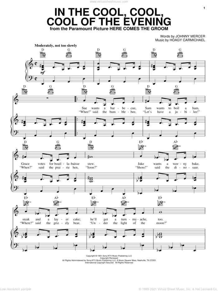 In The Cool, Cool, Cool Of The Evening sheet music for voice, piano or guitar by Hoagy Carmichael, Frank Sinatra and Johnny Mercer, intermediate skill level