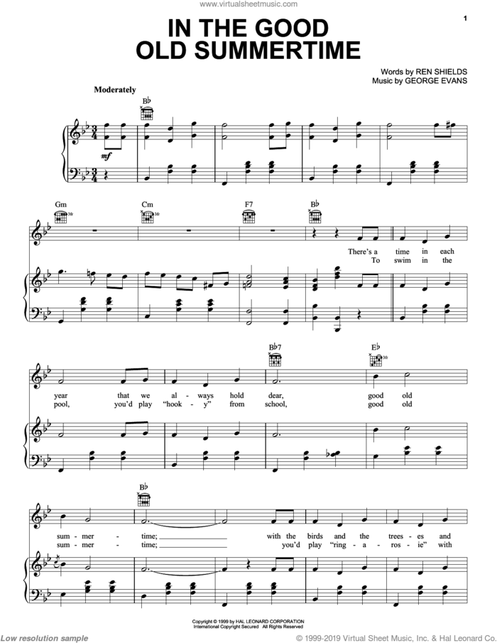 In The Good Old Summertime sheet music for voice, piano or guitar by Ren Shields and George Evans, George Evans and Ren Shields, intermediate skill level