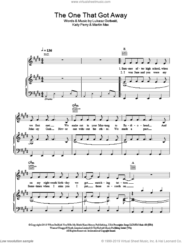 The One That Got Away sheet music for voice, piano or guitar by Katy Perry, Lukasz Gottwald and Martin Max, intermediate skill level