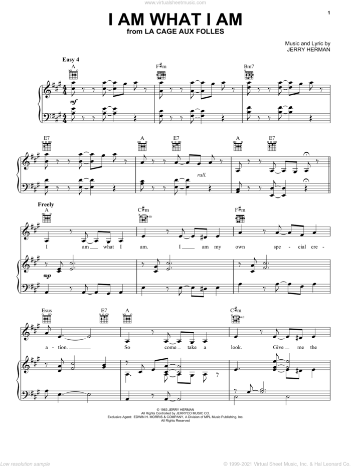 I Am What I Am (from La Cage Aux Folles) sheet music for voice, piano or guitar by Jerry Herman and La Cage Aux Folles  (Musical), intermediate skill level