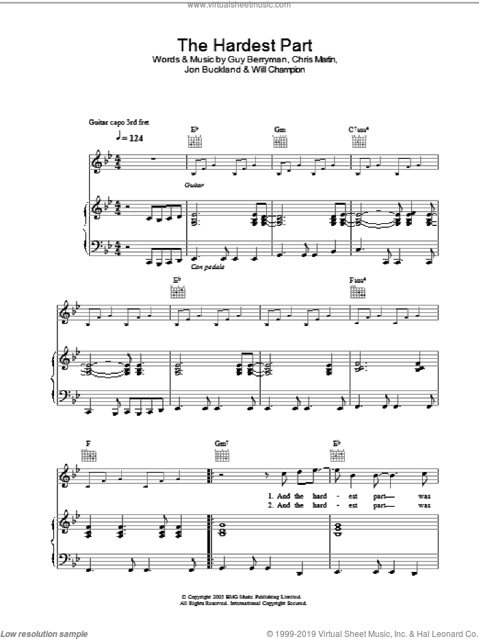 The Hardest Part sheet music for voice, piano or guitar by Coldplay, Chris Martin, Guy Berryman, Jon Buckland and Will Champion, intermediate skill level