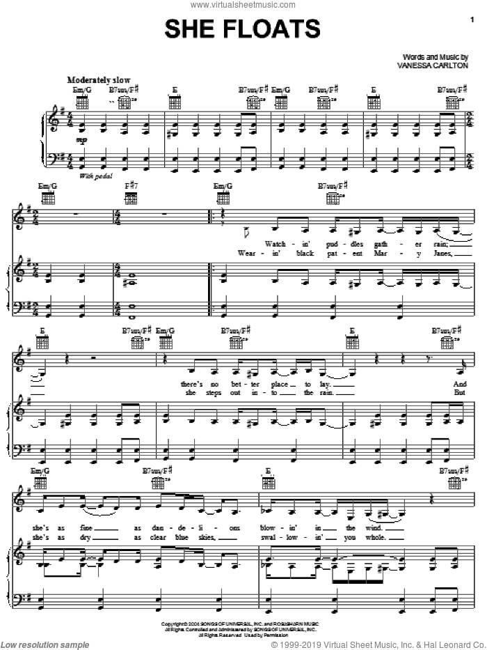 She Floats sheet music for voice, piano or guitar by Vanessa Carlton, intermediate skill level