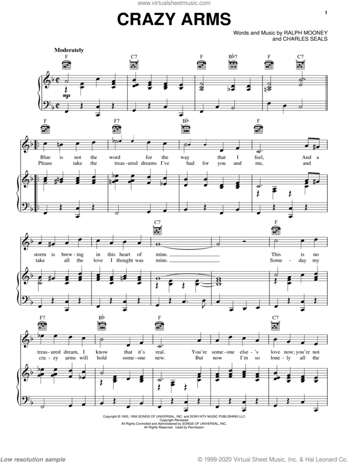 Crazy Arms sheet music for voice, piano or guitar by Ray Price, Jerry Lee Lewis, Mickey Gilley, Patsy Cline, Willie Nelson, Charles Seals and Ralph Mooney, intermediate skill level