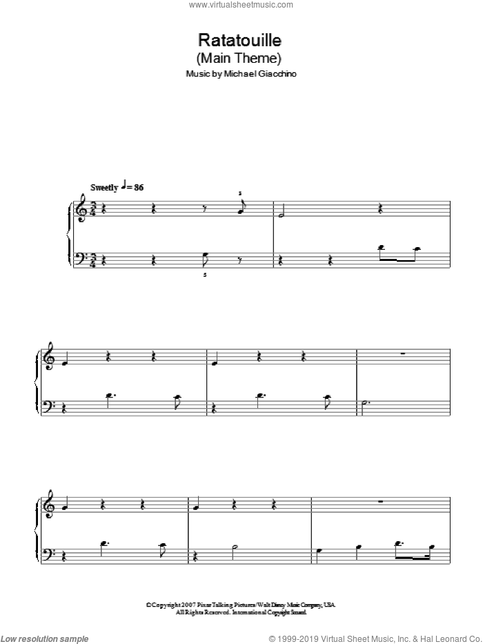 Ratatouille Main Theme sheet music for piano solo by Michael Giacchino and Ratatouille (Movie), easy skill level