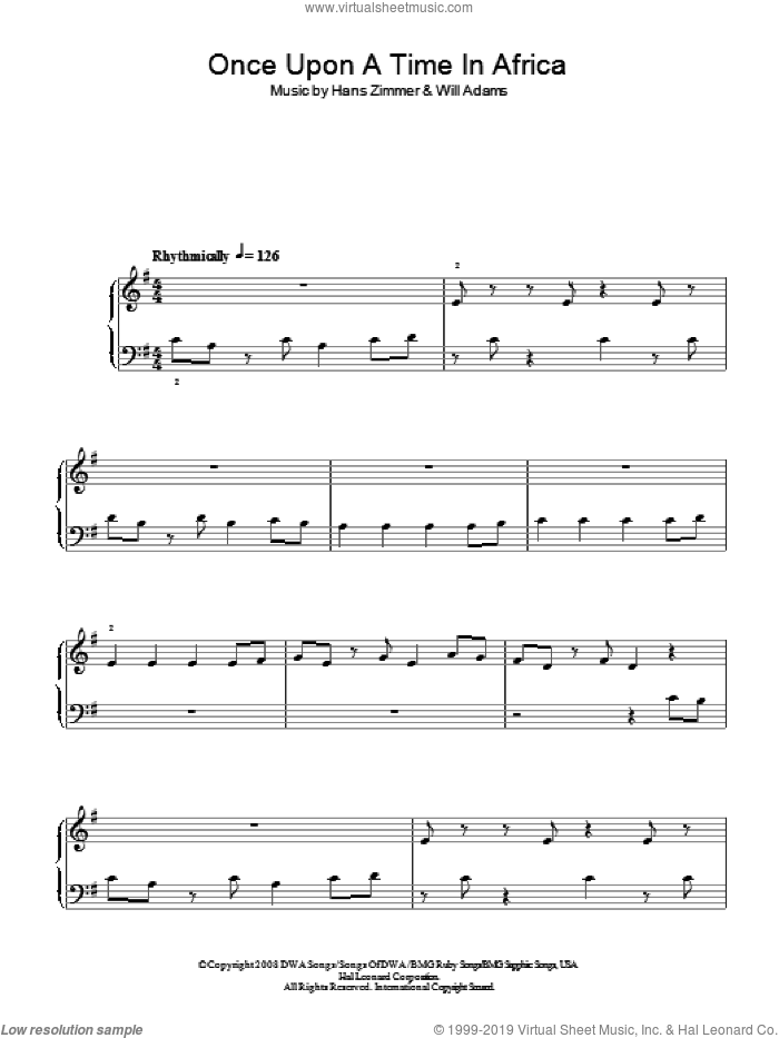 Once Upon A Time In Africa sheet music for piano solo by Will Adams and Hans Zimmer, easy skill level
