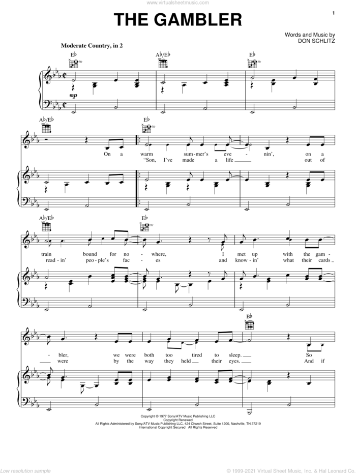 The Gambler sheet music for voice, piano or guitar by Kenny Rogers and Don Schlitz, intermediate skill level