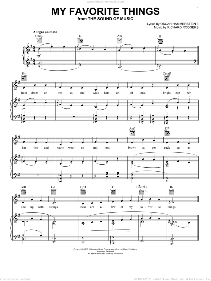My Favorite Things sheet music for voice, piano or guitar by Rodgers & Hammerstein, Julie Andrews, The Sound Of Music (Musical), Oscar II Hammerstein and Richard Rodgers, intermediate skill level