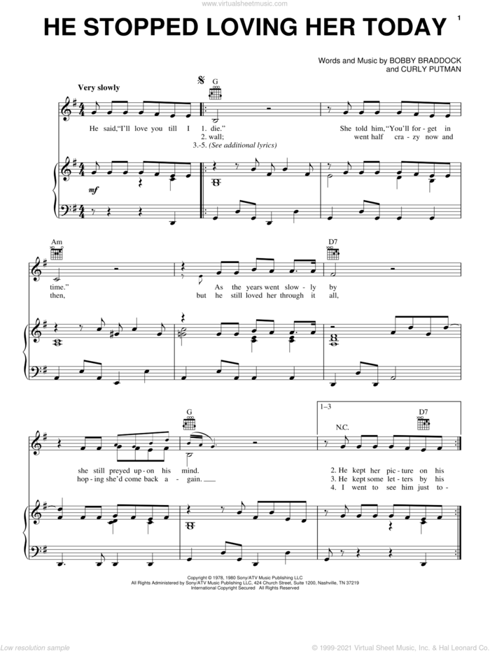 He Stopped Loving Her Today sheet music for voice, piano or guitar by George Jones, Johnny Cash, Johnny Paycheck, Bobby Braddock and Curly Putman, intermediate skill level