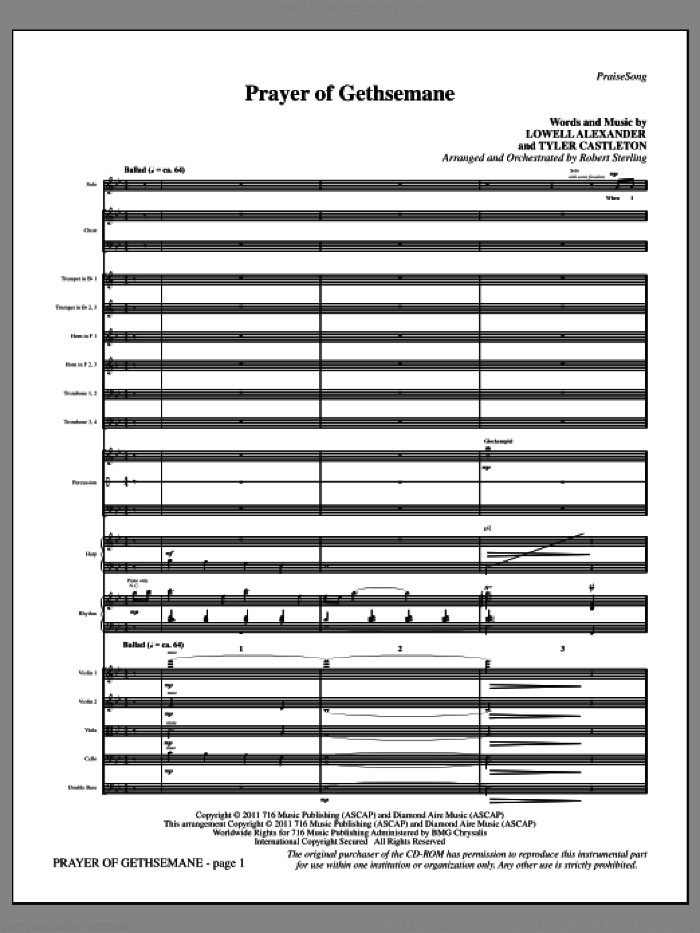 Prayer Of Gethsemane (complete set of parts) sheet music for orchestra/band by Lowell Alexander, Tyler Castleton and Robert Sterling, intermediate skill level