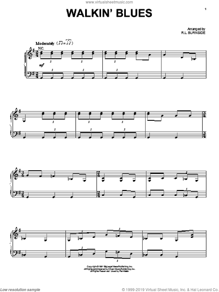 Walkin' Blues sheet music for voice, piano or guitar by Robert Johnson and Footloose (2011 Movie), intermediate skill level