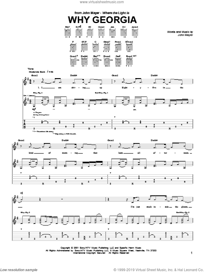 Why Georgia sheet music for guitar (tablature) by John Mayer, intermediate skill level