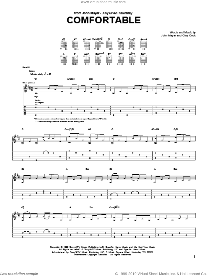 Comfortable sheet music for guitar (tablature) by John Mayer and Clay Cook, intermediate skill level