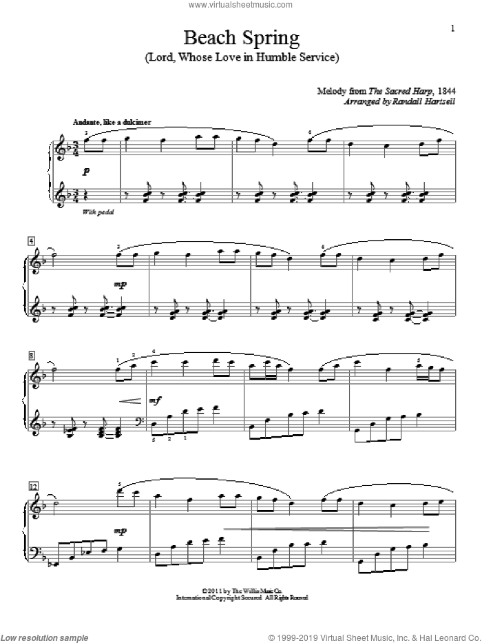 Beach Spring (Lord, Whose Love In Humble Service) sheet music for piano solo (elementary) by The Sacred Harp and Randall Hartsell, beginner piano (elementary)