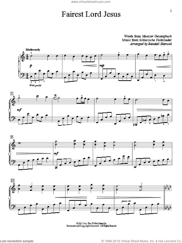 Fairest Lord Jesus sheet music for piano solo (elementary) by Munster Gesangbuch, Randall Hartsell and Joseph August Seiss, beginner piano (elementary)