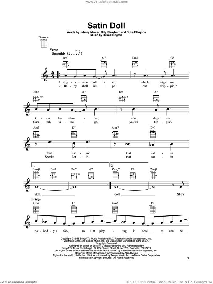 Satin Doll sheet music for ukulele by Duke Ellington, Billy Strayhorn and Johnny Mercer, intermediate skill level