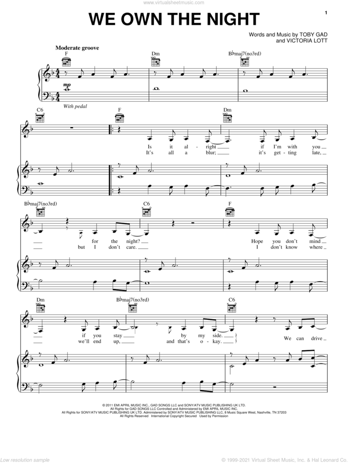 We Own The Night sheet music for voice, piano or guitar by Selena Gomez, Toby Gad and Victoria Lott, intermediate skill level