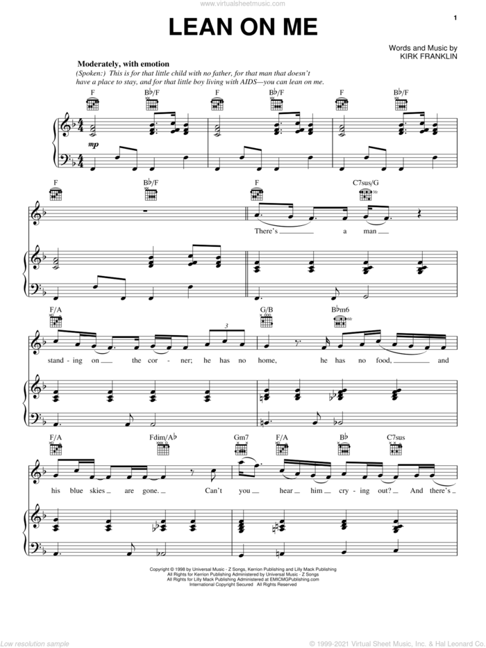 Lean On Me sheet music for voice, piano or guitar by Kirk Franklin, intermediate skill level