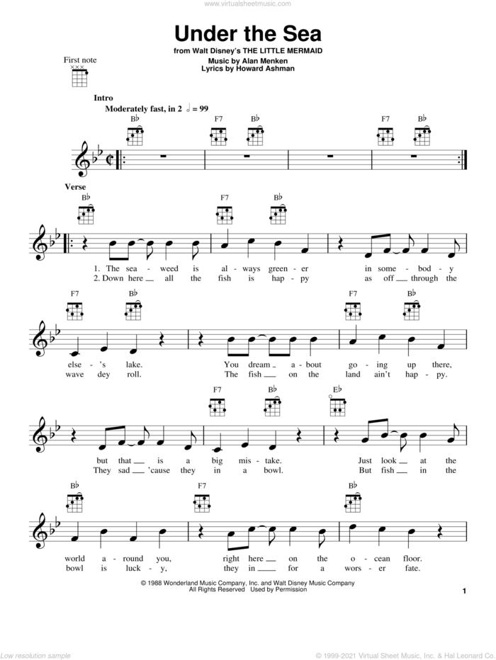 Under The Sea (from The Little Mermaid) sheet music for ukulele by Alan Menken, The Little Mermaid (Movie) and Howard Ashman, intermediate skill level