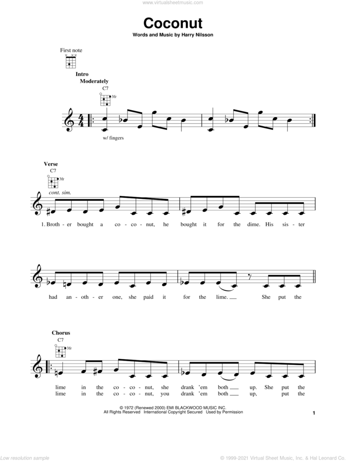 Coconut sheet music for ukulele by Harry Nilsson, intermediate skill level