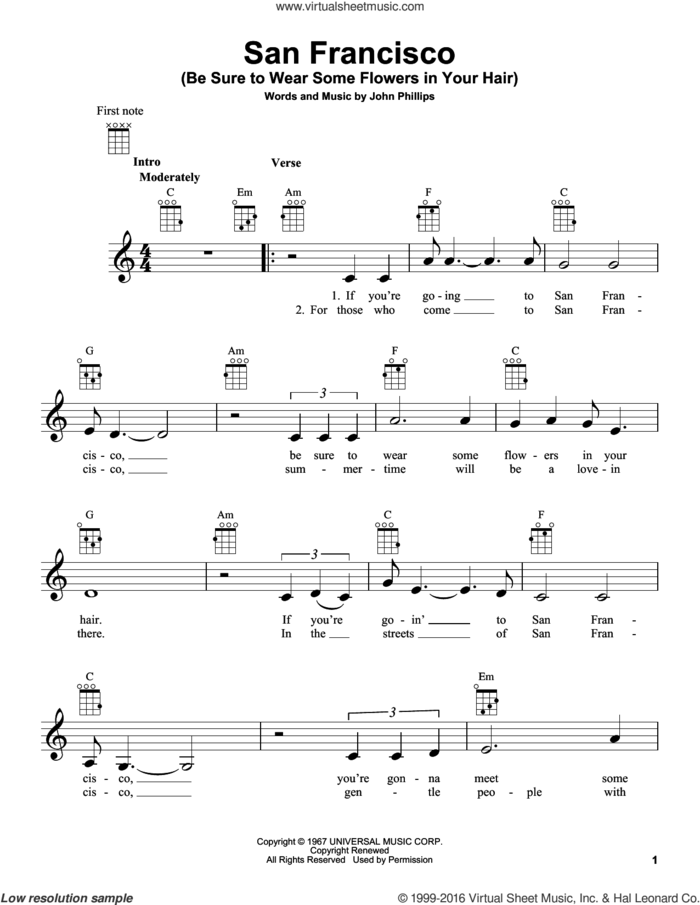 San Francisco (Be Sure To Wear Some Flowers In Your Hair) sheet music for ukulele by Scott McKenzie and John Phillips, intermediate skill level