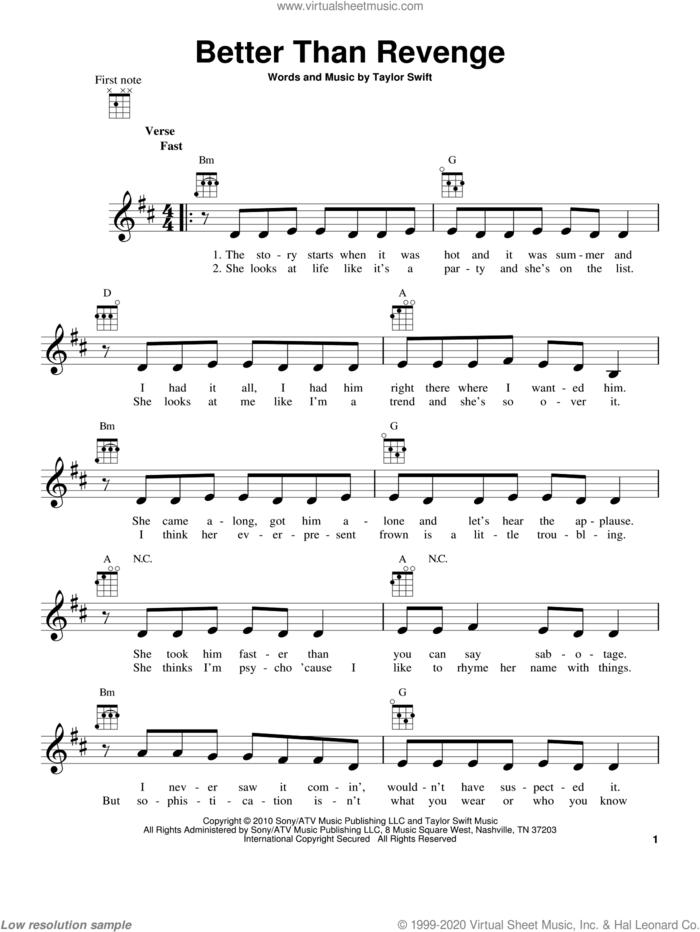 Better Than Revenge sheet music for ukulele by Taylor Swift, intermediate skill level