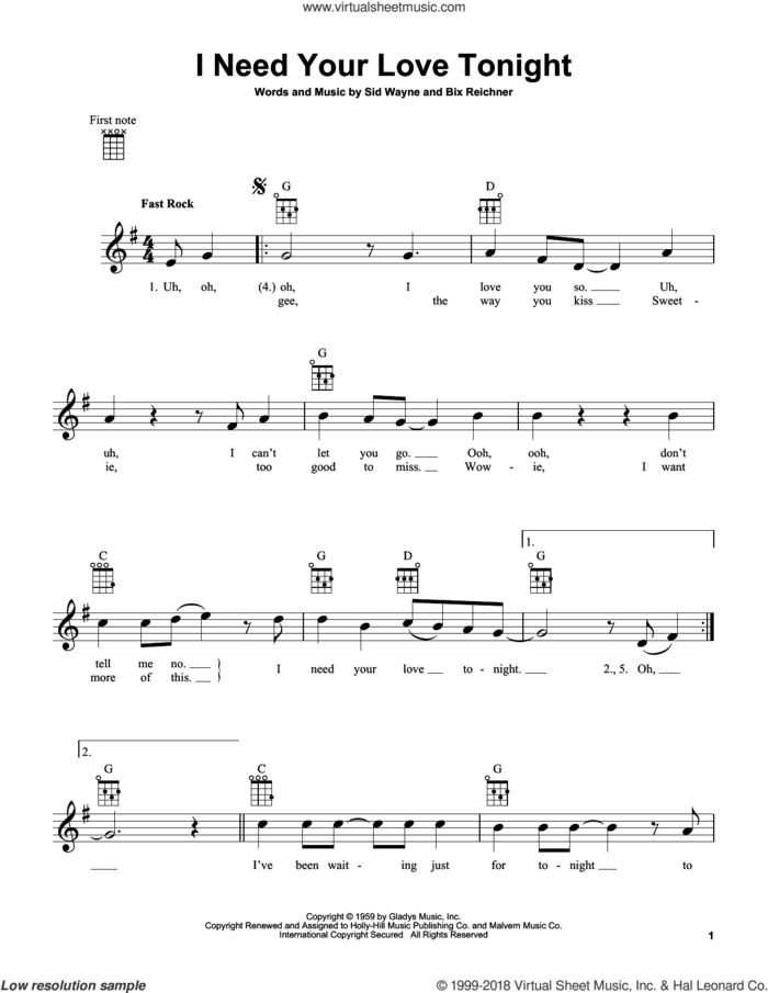 I Need Your Love Tonight sheet music for ukulele by Elvis Presley, Bix Reichner and Sid Wayne, intermediate skill level