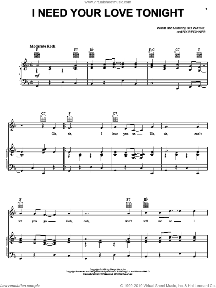 I Need Your Love Tonight sheet music for voice, piano or guitar by Elvis Presley, Bix Reichner and Sid Wayne, intermediate skill level