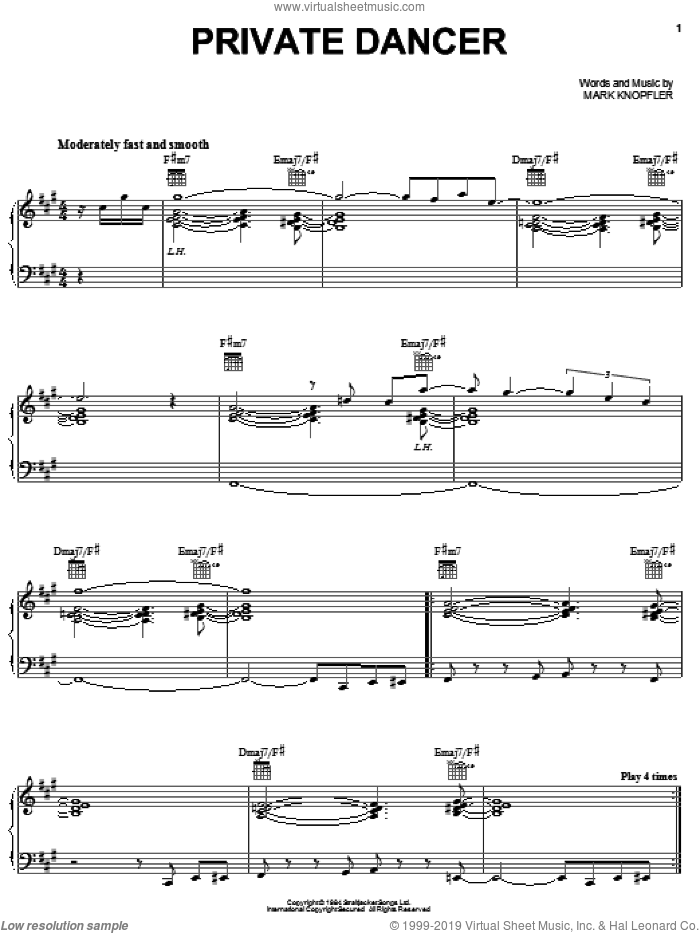 Private Dancer sheet music for voice, piano or guitar by Tina Turner and Mark Knopfler, intermediate skill level