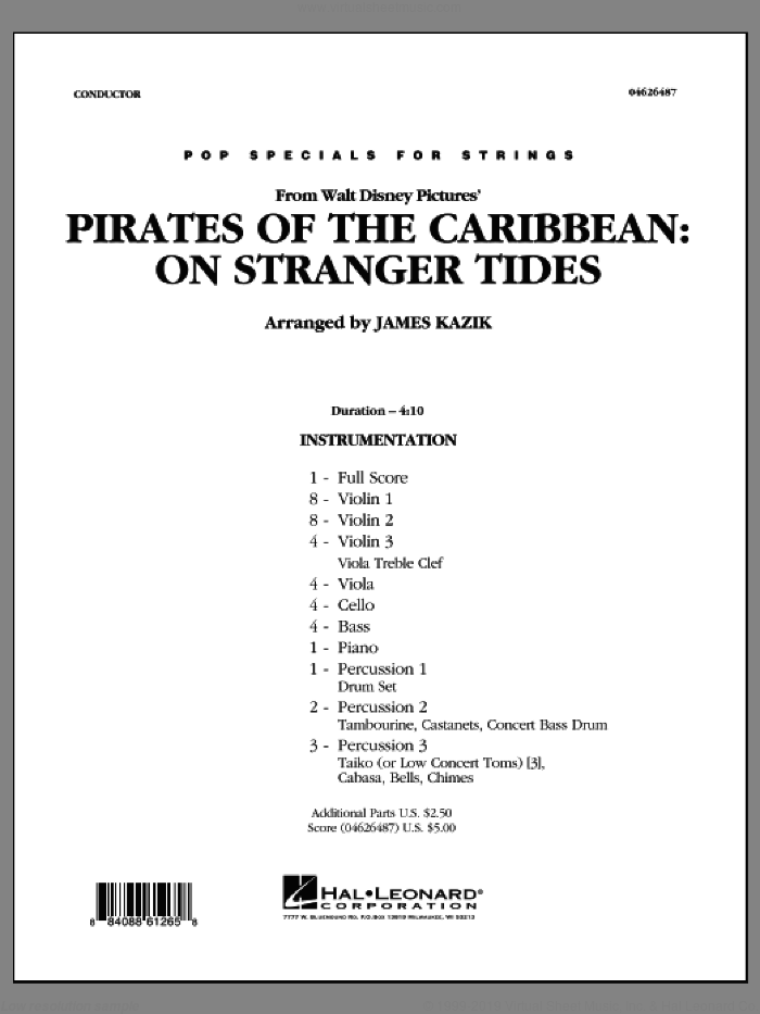 Pirates Of The Caribbean: On Stranger Tides (COMPLETE) sheet music for orchestra by James Kazik, intermediate skill level