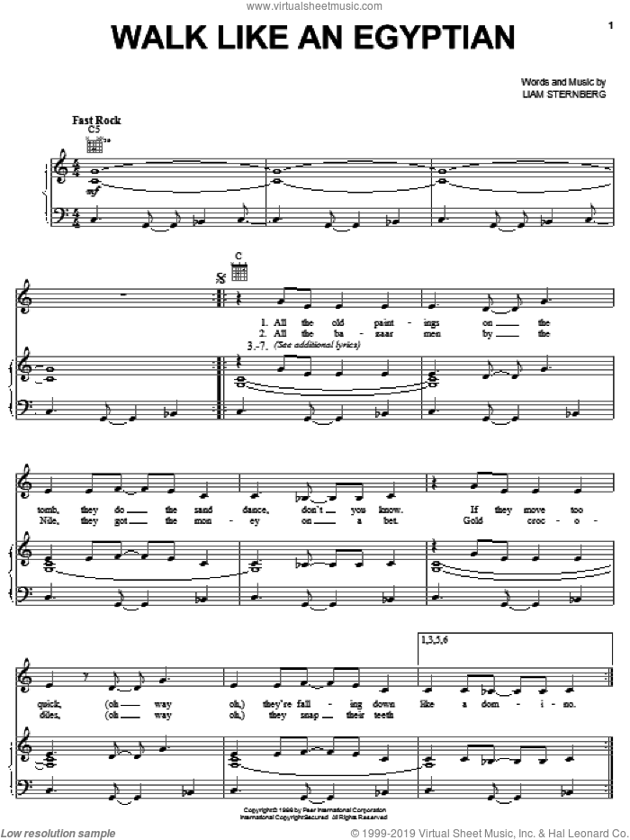 Walk Like An Egyptian sheet music for voice, piano or guitar by The Bangles and Liam Sternberg, intermediate skill level