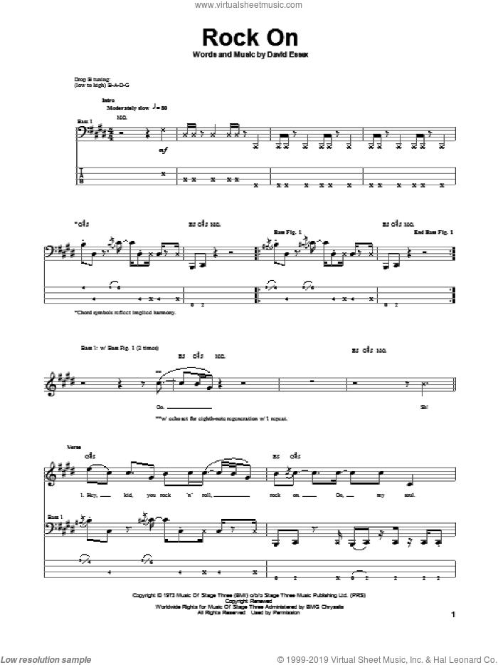 Rock On sheet music for bass (tablature) (bass guitar) by David Essex, intermediate skill level