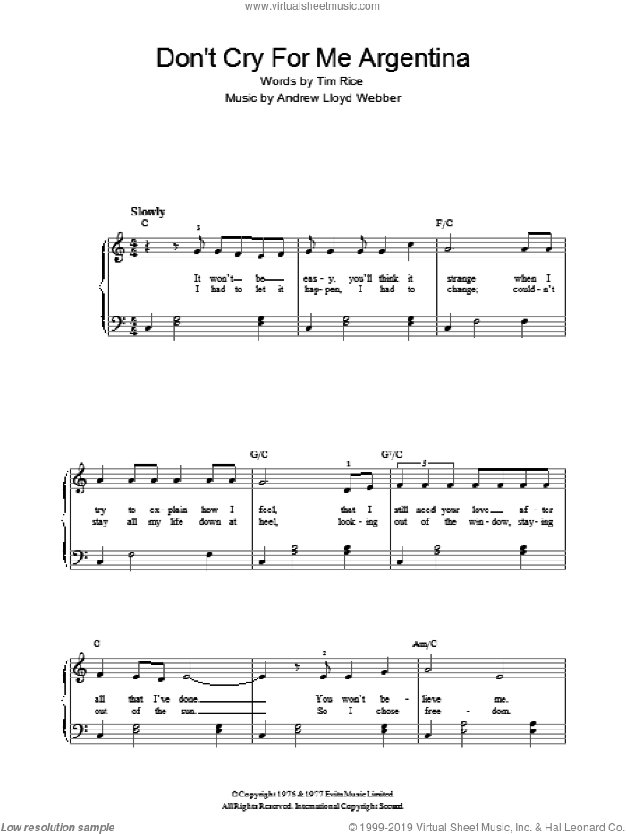 Don't Cry For Me Argentina (Verse Only) sheet music for piano solo by Andrew Lloyd Webber and Tim Rice, easy skill level