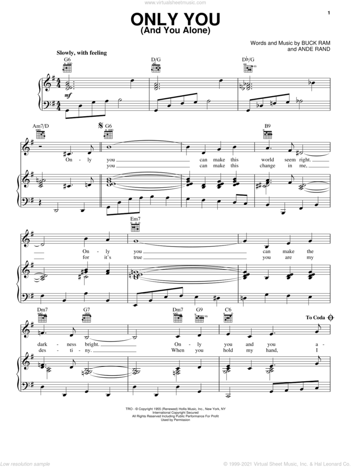 Only You (And You Alone) sheet music for voice, piano or guitar by The Platters, Alvin And The Chipmunks (Movie), Ande Rand and Buck Ram, intermediate skill level