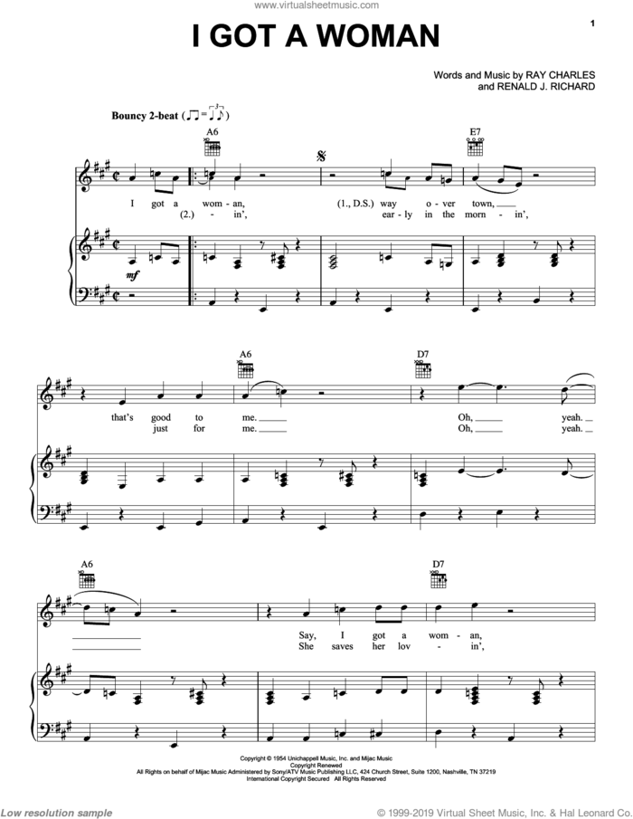 I Got A Woman sheet music for voice, piano or guitar by Ray Charles, Elvis Presley, Ray (Movie) and Renald J. Richard, intermediate skill level