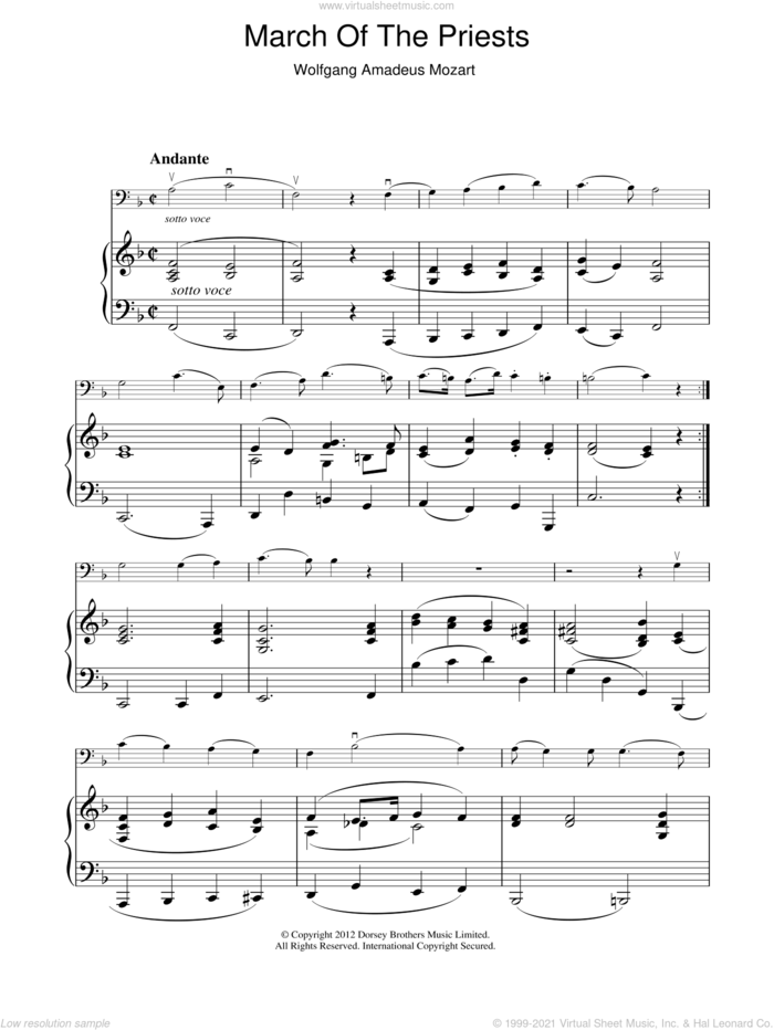 March Of The Priests sheet music for voice, piano or guitar by Wolfgang Amadeus Mozart, classical score, intermediate skill level